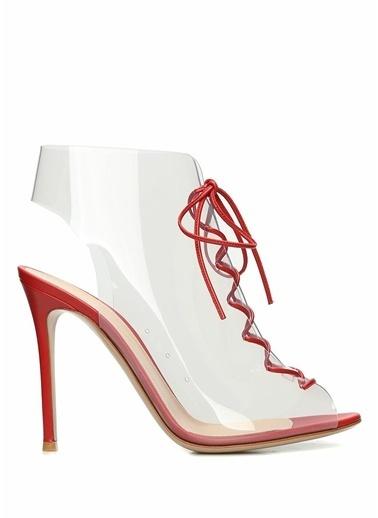 Gianvito Rossi İnce Topuklu %100 Deri Sandalet Kırmızı